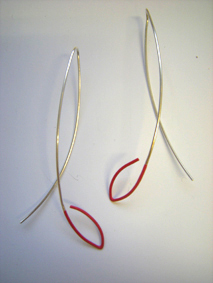 picture of satin red seed earrings